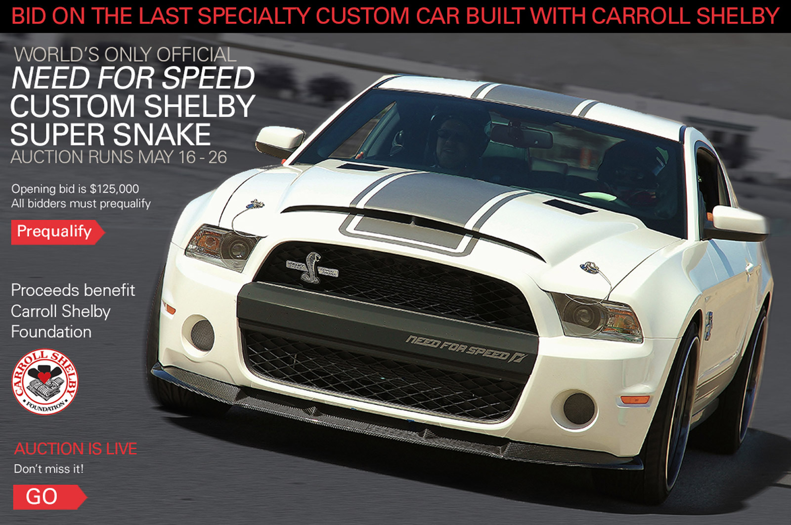 last car built with carroll shelby finally going up for auction - 2011 Ford Mustang Shelby Gt500 With Shelby Super Snake Package