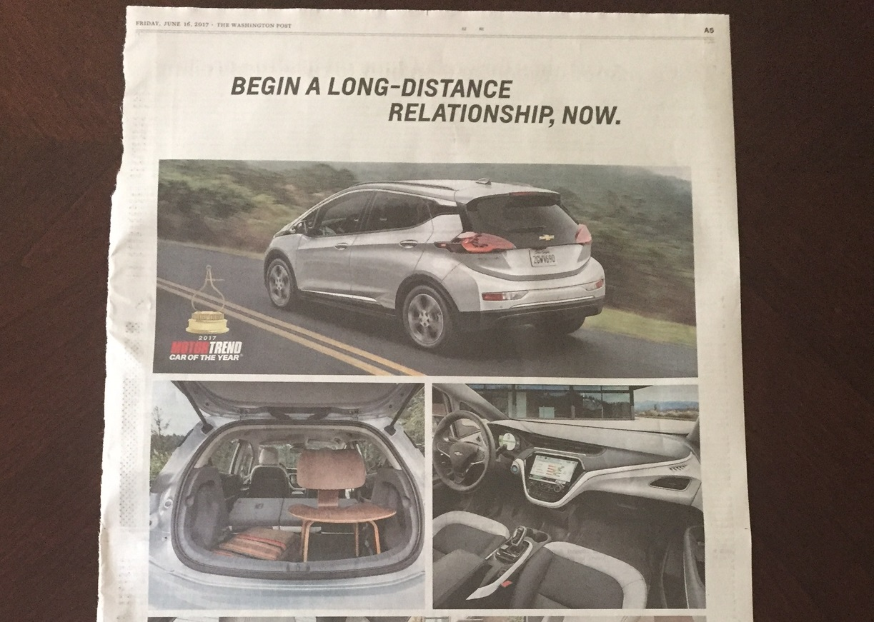 Yes, ads for the Chevy Bolt EV electric car do actually ...
