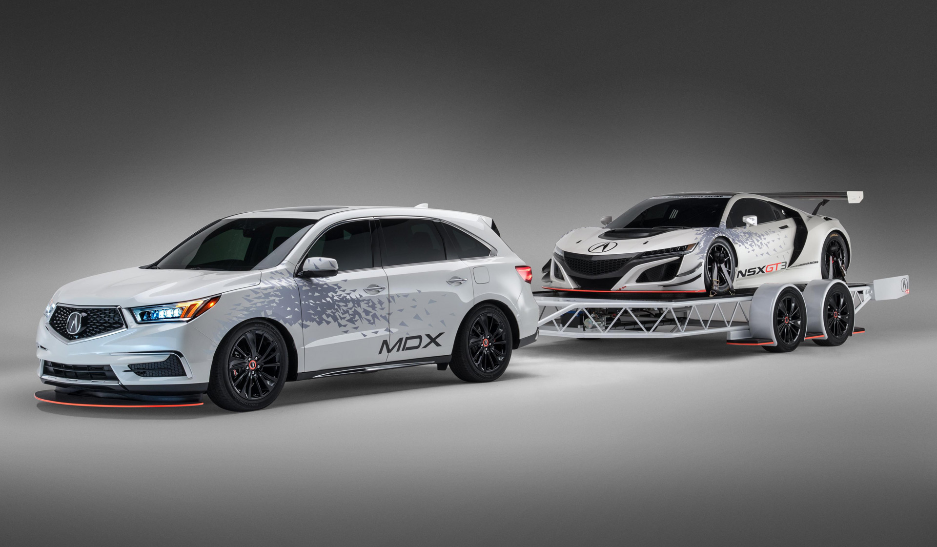 Tricked Out Acura Mdx Towing An Nsx Gt3 To Star In Sema