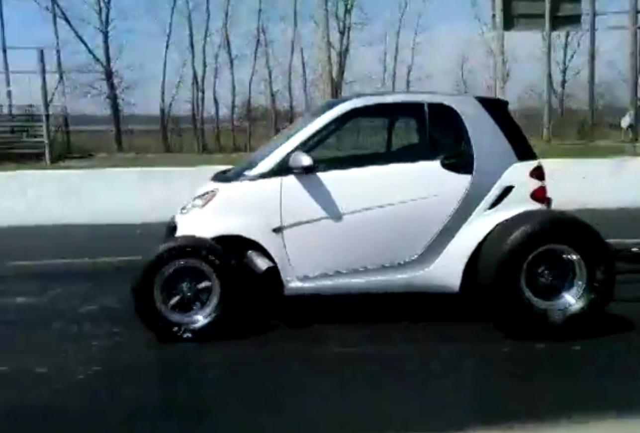 big block smart car pulls wheelies sounds like the apocalypse
