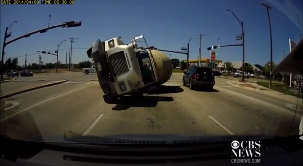 Dashcam Captures Pov Crash With Cement Truck Video