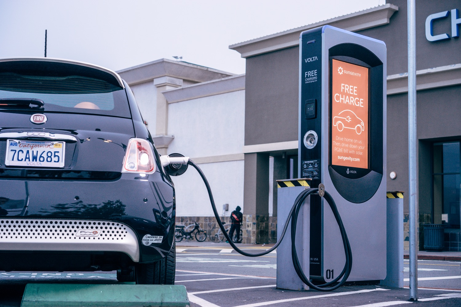 Electric Car Plug In Charging Station In Near