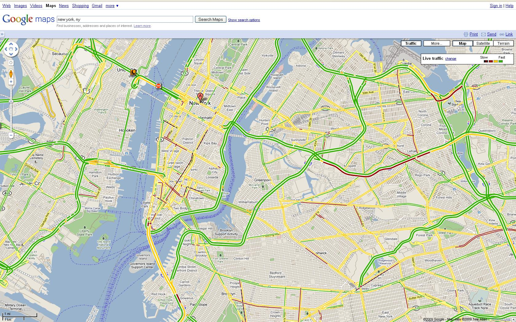 Google Maps Your Commute Takes To The Side Streets - Nyc map google maps