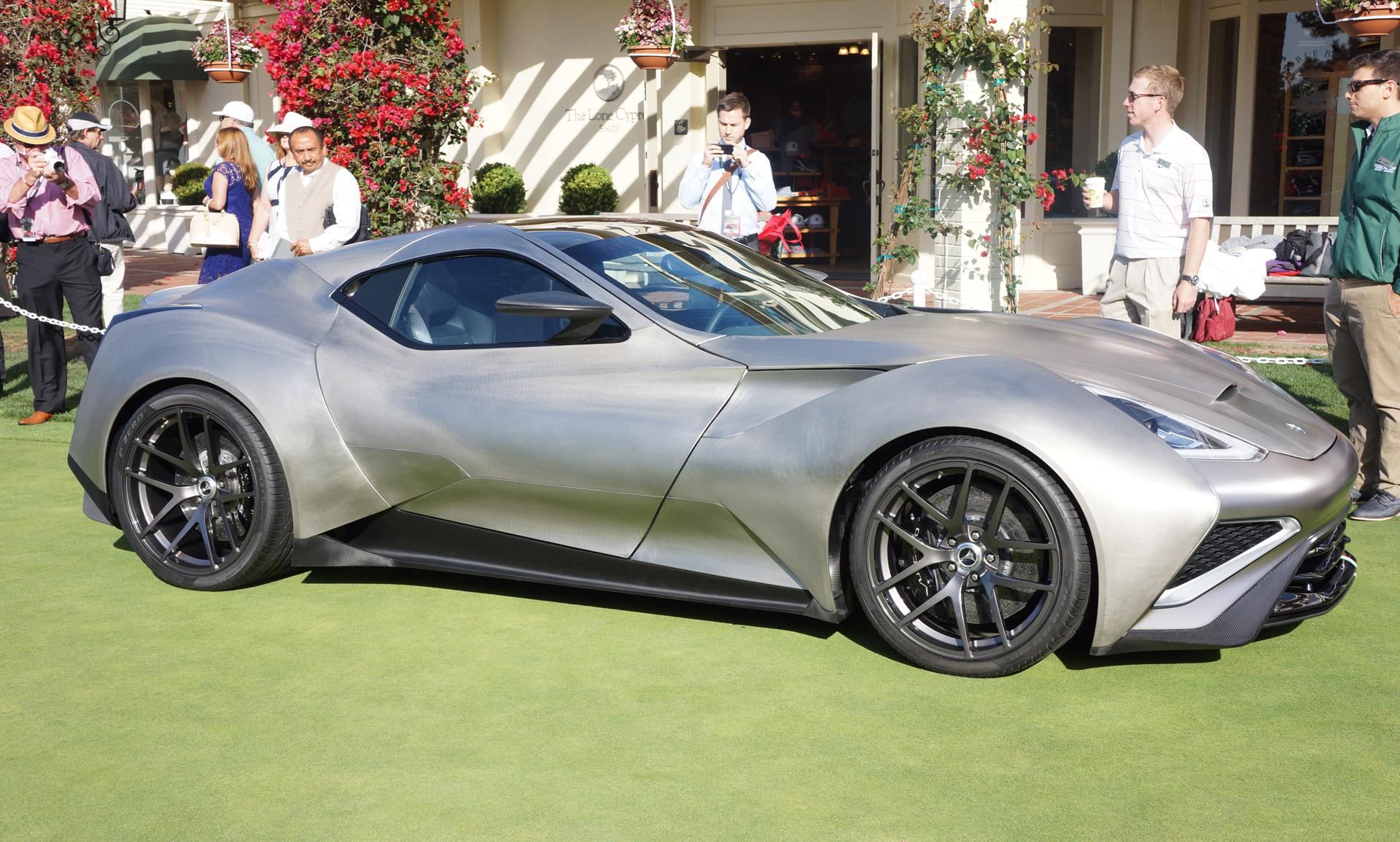 titanium bodied icona vulcano supercar debuts  pebble beach concours video