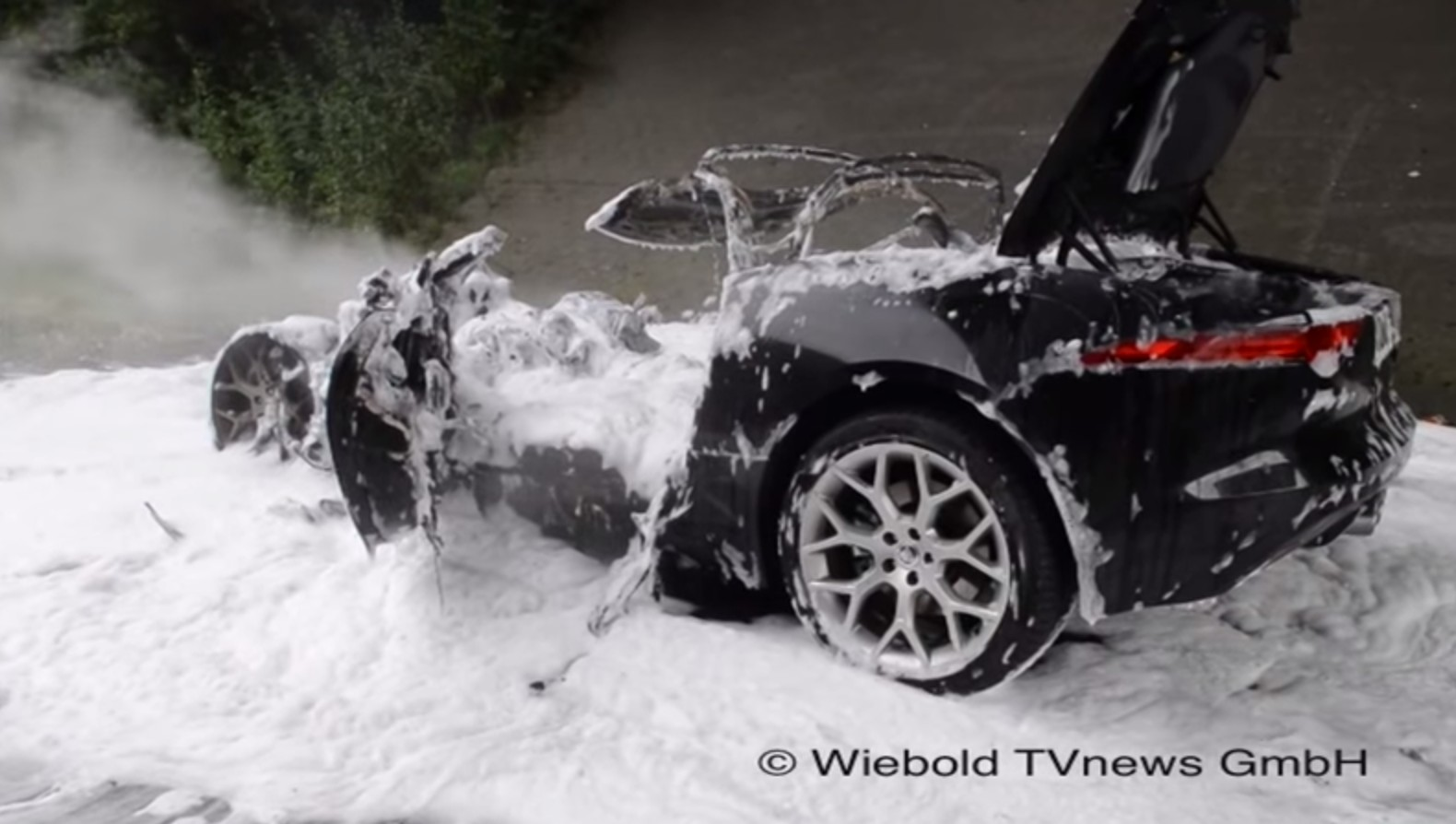 Jaguar F Type Burns To The Ground On The Autobahn Video