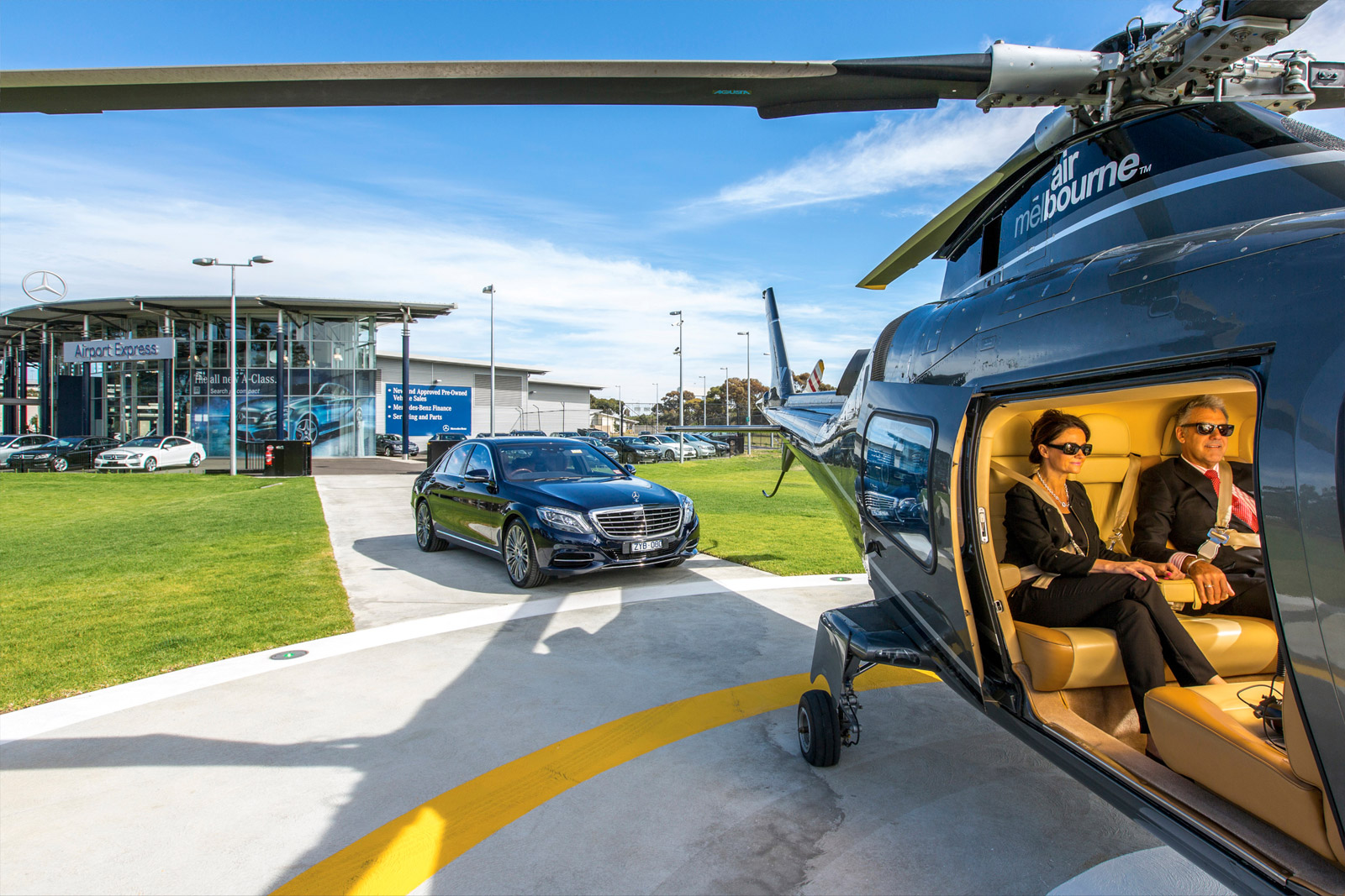 mercedes offers airport helicopter transfers for time poor On mercedes benz airport