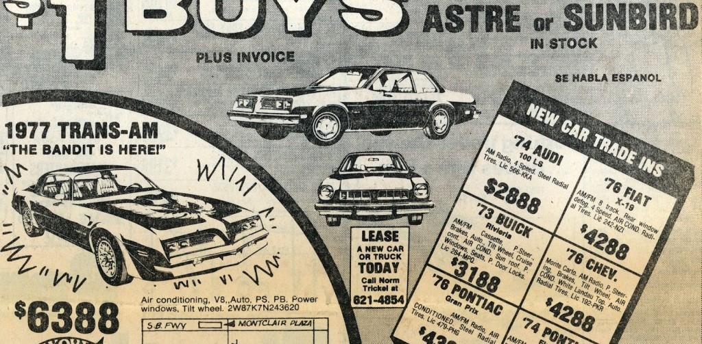 1970s Pontiac Dealership ad