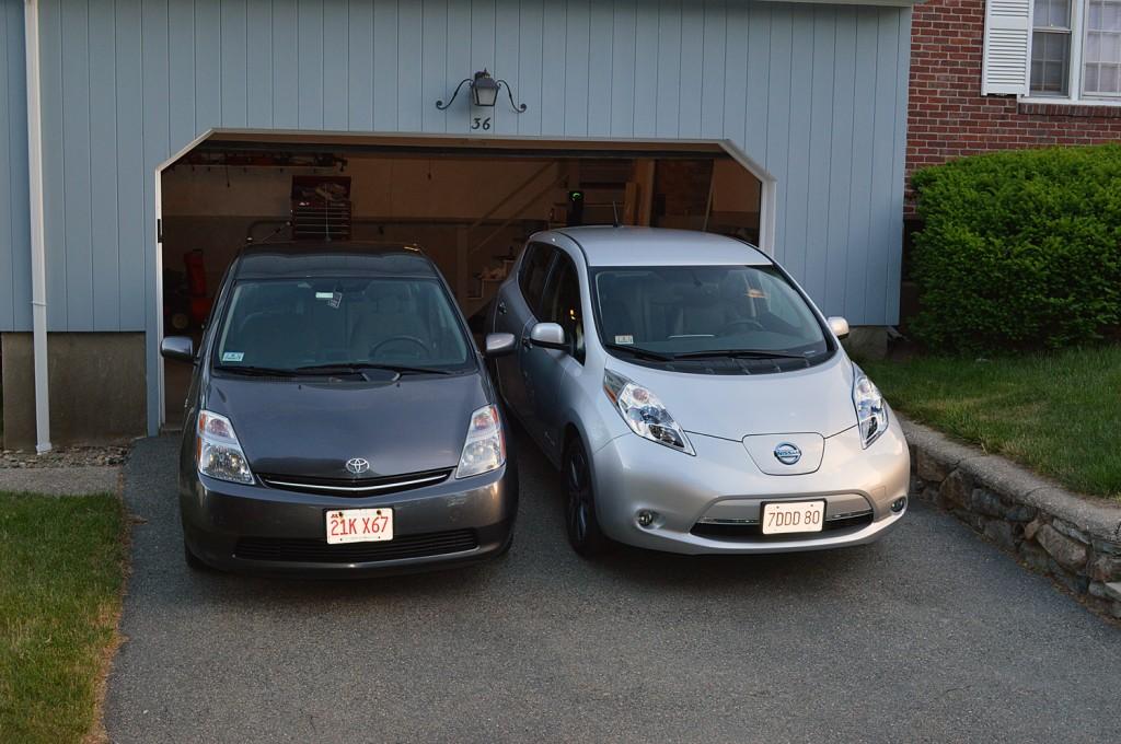 2006 Toyota Prius and 2015 Nissan Leaf  [photo: John C. Briggs]