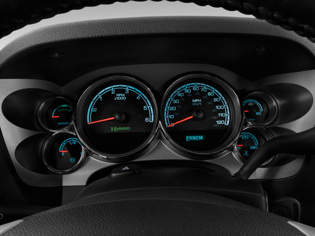 "Image: 2010 Chevrolet Silverado 1500 Hybrid 2WD Crew Cab 143.5"" 1HY Instrument Cluster, size ..."