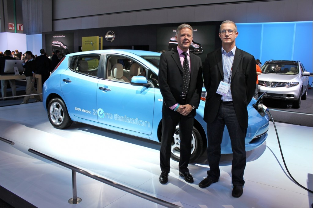 Brian Carolin and John Voelcker with 2011 Nissan Leaf
