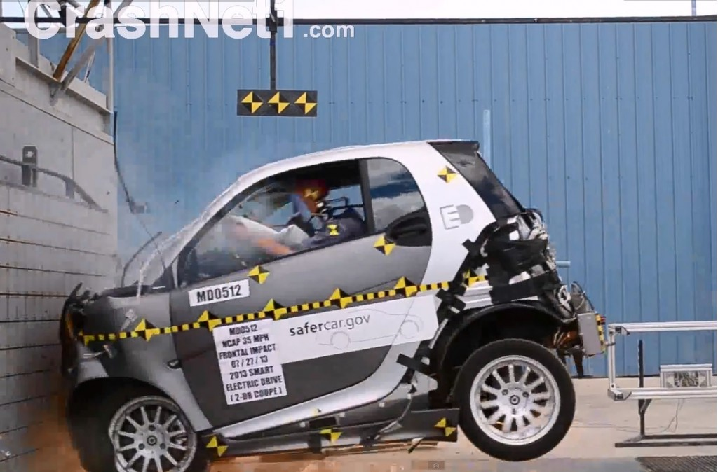 2013 Smart Fortwo Electric Drive NHTSA crash test (Image via crashnet1.com)