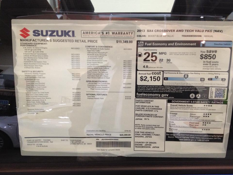 2013 Suzuki SX4 window sticker