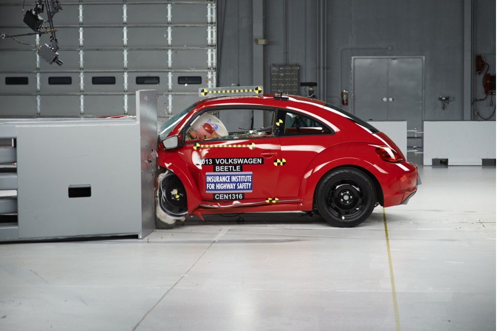 2013 Volkswagen Beetle  -  rated MARGINAL in IIHS small overlap frontal impact test