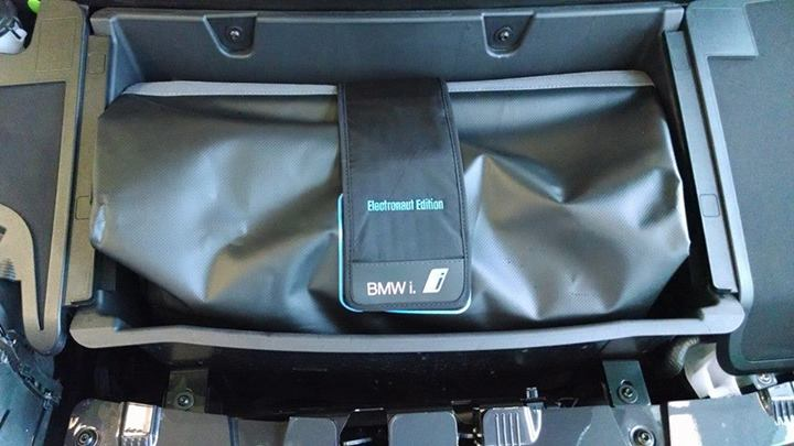 2014 BMW i3 REx range-extended electric car owned by Tom Moloughney - charging cord in compartment