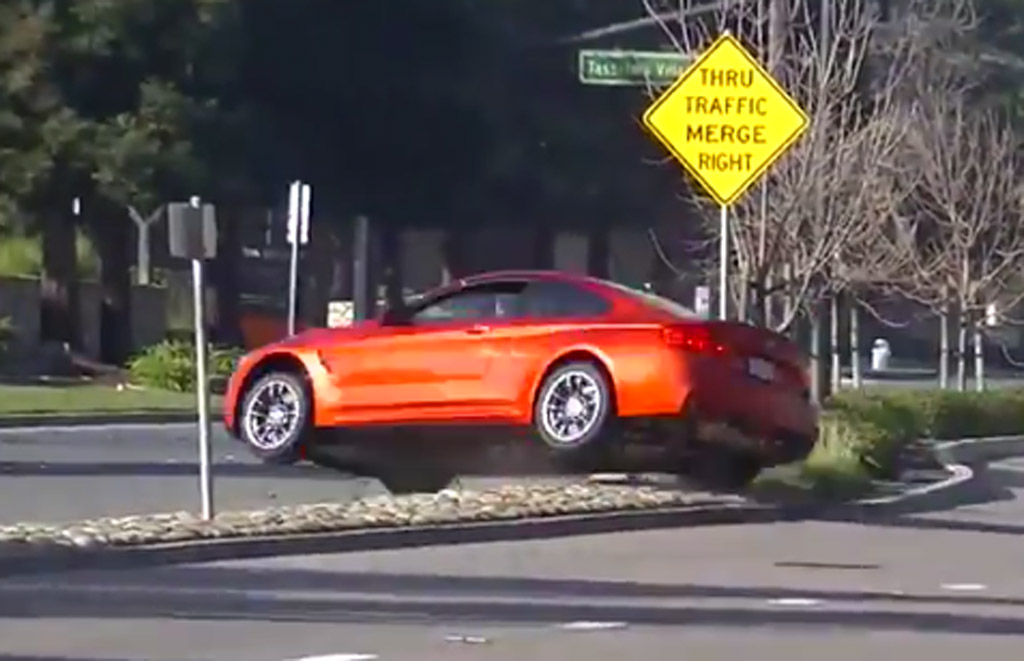 Bmw M4 Jumps The Median Strip After Show Off Driver Loses