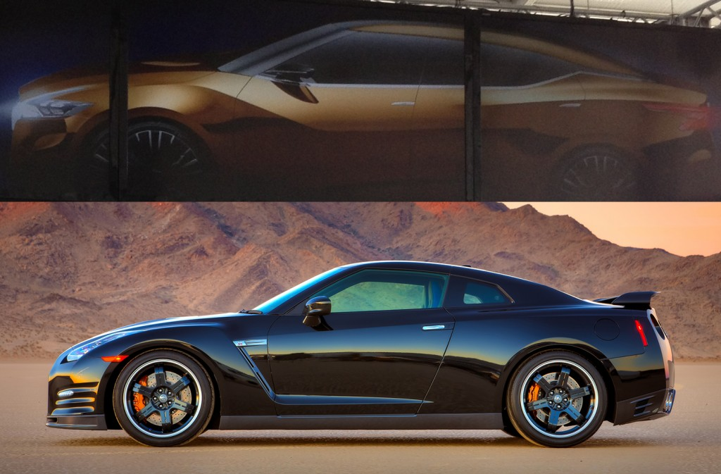 2015 Nissan Maxima Concept teaser image compared to Nissan GT-R