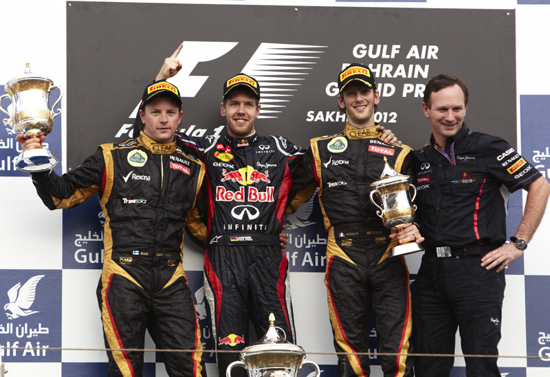 An all Renault Bahrain podium - photo courtesy Lotus F1 Team