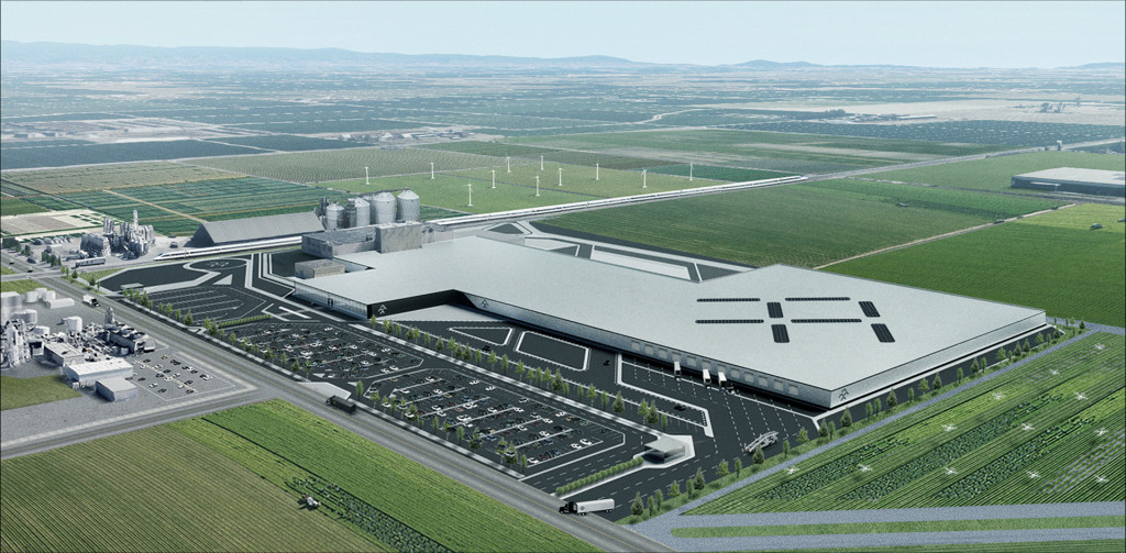 Artist's impression of Faraday Future's proposed plant in Hanford, California
