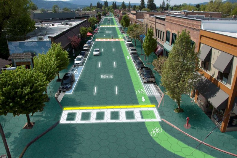 Artist's rendering of Solar Roadways, installed in Sandpoint, Idaho