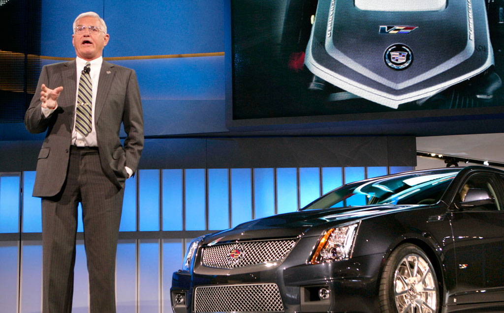 Bob Lutz with the Cadillac CTS-V