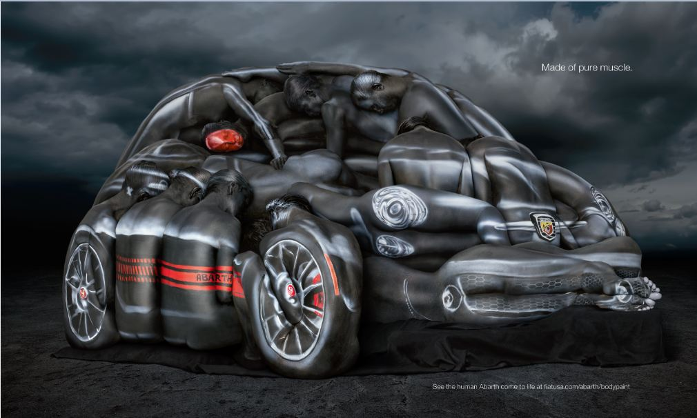Fiat 500 Abarth Cabrio Recreated By Nude Women, Because Everyone Is Out Of Ideas