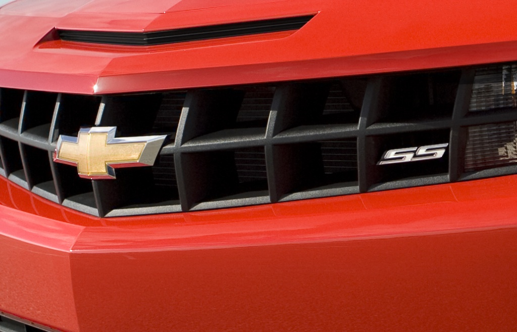 Chevrolet and SS logos on a 2010 Camaro grille