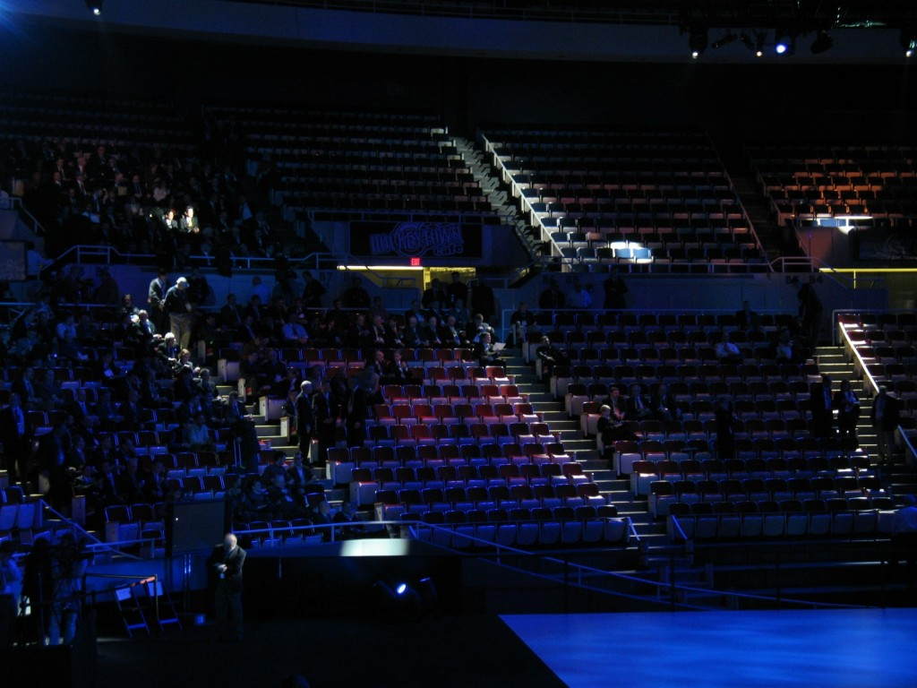 Cobo Arena looking empty just prior to Ford conference