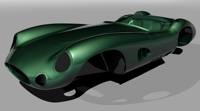 Computer rendering of MEV's Aston Martin DBR1 replica body - image: MEV Replicar