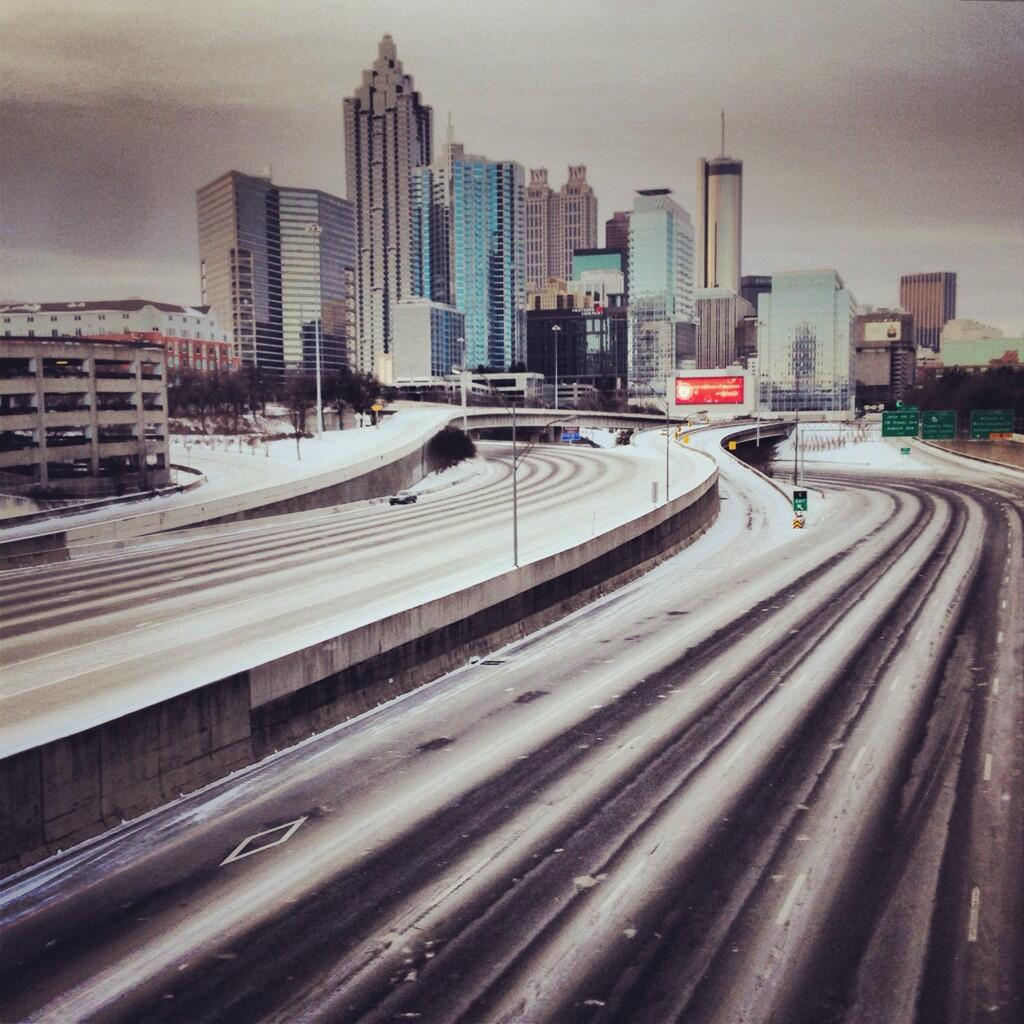 Downtown Atlanta in the snow. Image via @erikrostad on Twitter