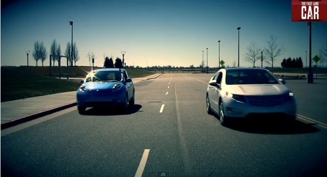 Drag race between Chevrolet Volt and Nissan Leaf electric cars (The Fast Lane)