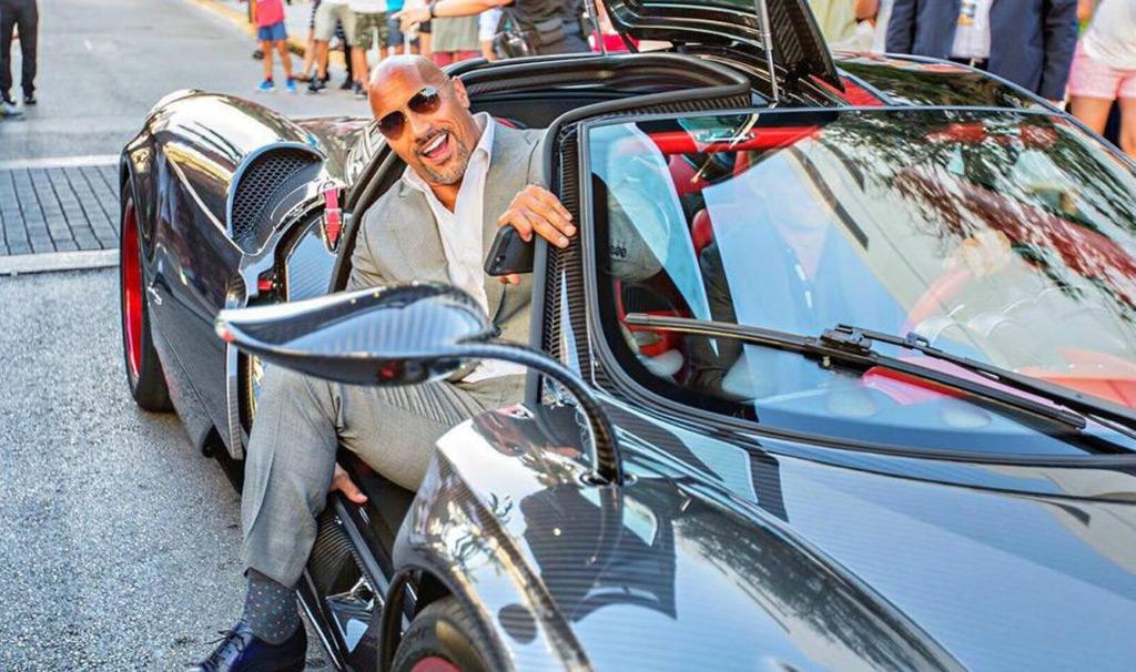 Dwayne Johnson rocks up to 'Ballers' premiere in Pagani Huayra