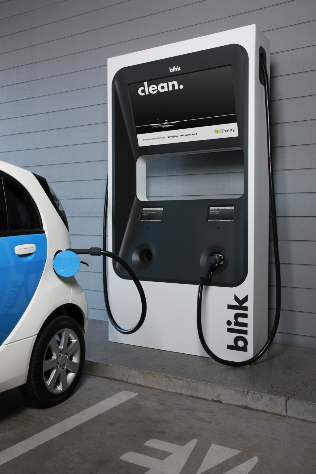 ECOtality Blink DC fast charger plugged in