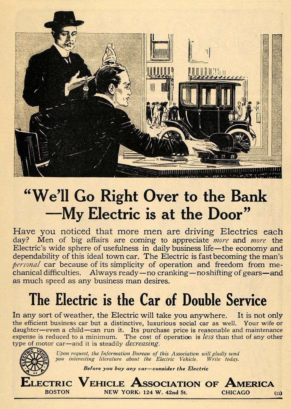 Electric Vehicle Association ad, 1912