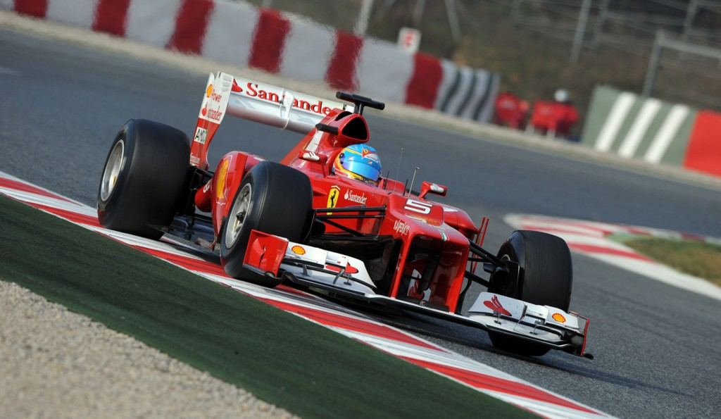 Fernando Alonso in the 2012 Ferrari F1 race car