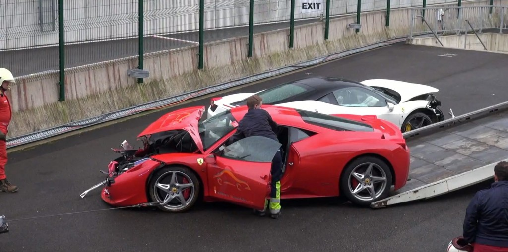 Ferrari 458 smashed