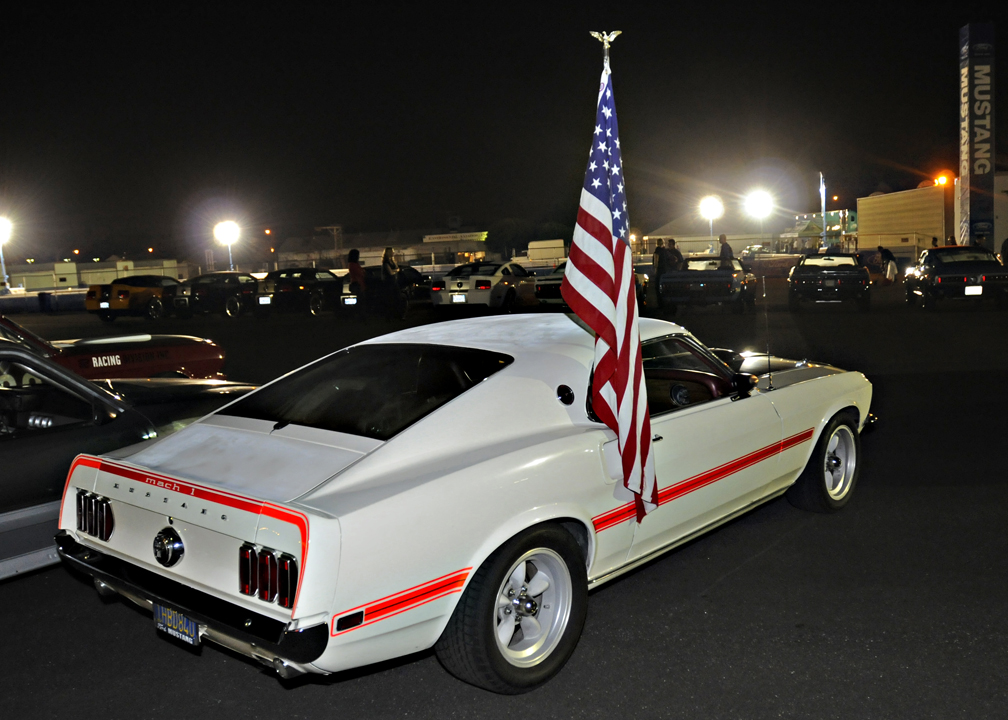Ford Mustang with U.S. flag