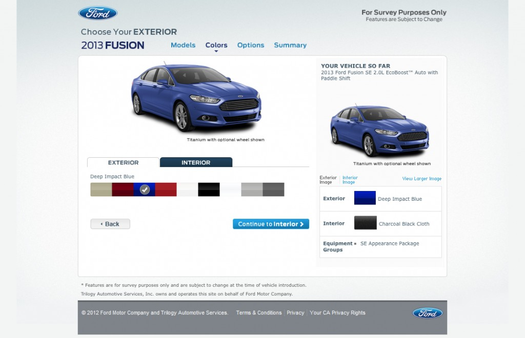 Ford's 2013 Fusion configurator website.