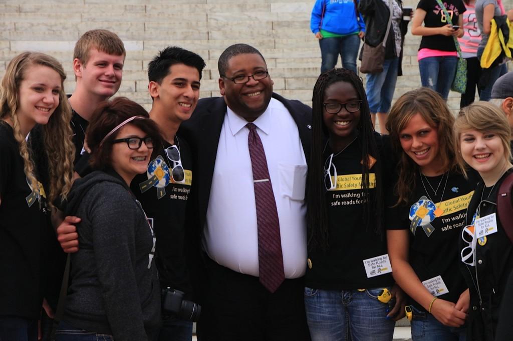 Global Youth Traffic Safety Month 2013 - NHTSA Admin. David Strickland & youth, Washington, D.C.