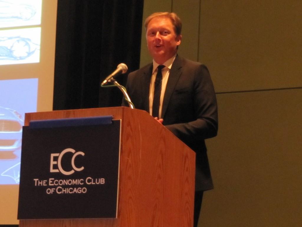 Henrik Fisker speaking at Economic Club of Chicago luncheon, 2013 Chicago Auto Show