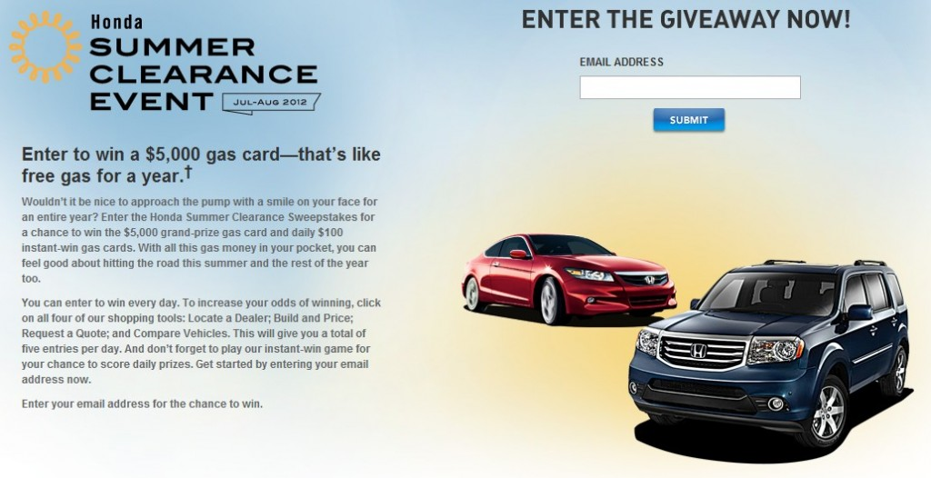 Honda Summer Clearance gas card giveaway