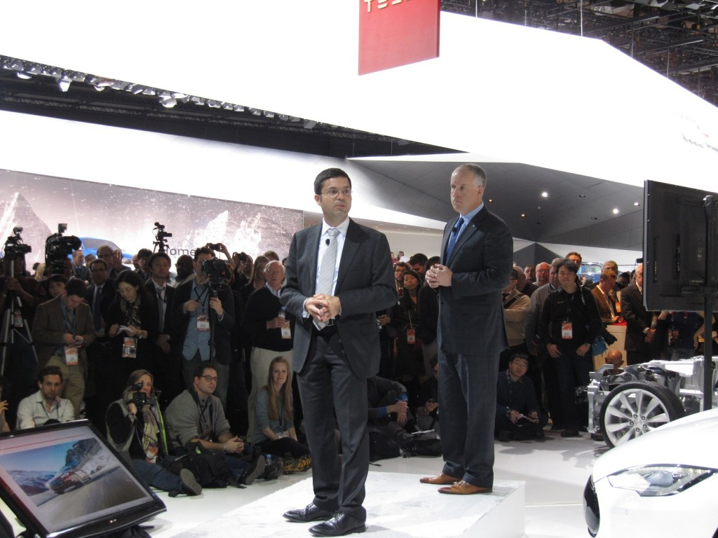 Jerome Guillen and Diarmuid O'Connell of Tesla Motors, press conference at 2014 Detroit Auto Show