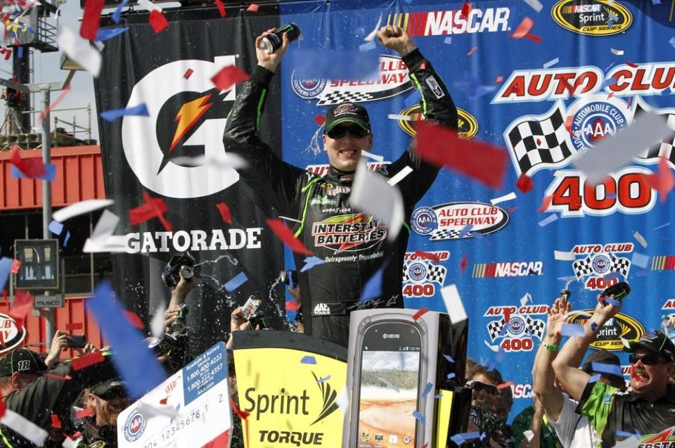 Kyle Busch celebrates in Fontana - image: Kyle Busch Motorsports