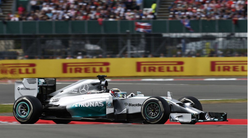 Mercedes AMG's Lewis Hamilton at the 2014 Formula One British Grand Prix