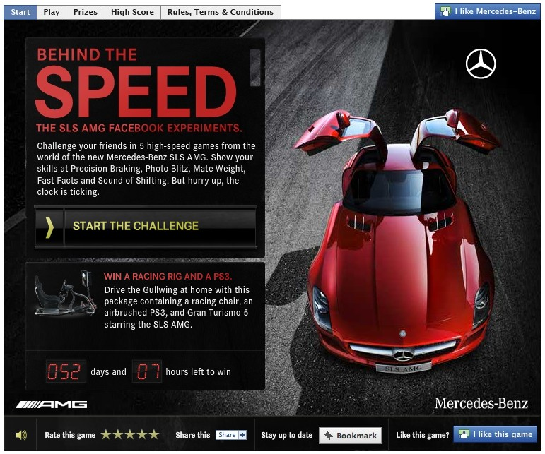 Mercedes Facebook app for the SLS AMG