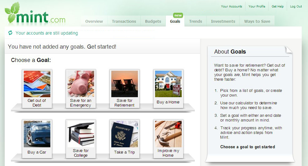 Mint.com's 'Goals' section, powered in part by KBB