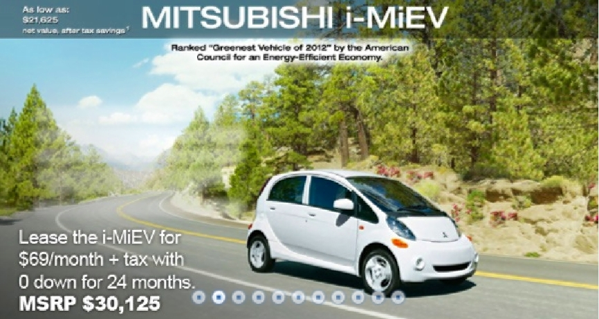 mitsubishi i in cheapest electric car lease yet 69 per month. Black Bedroom Furniture Sets. Home Design Ideas
