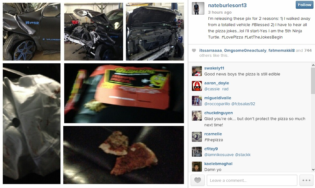 Nate Burleson posts crash aftermath to Instagram