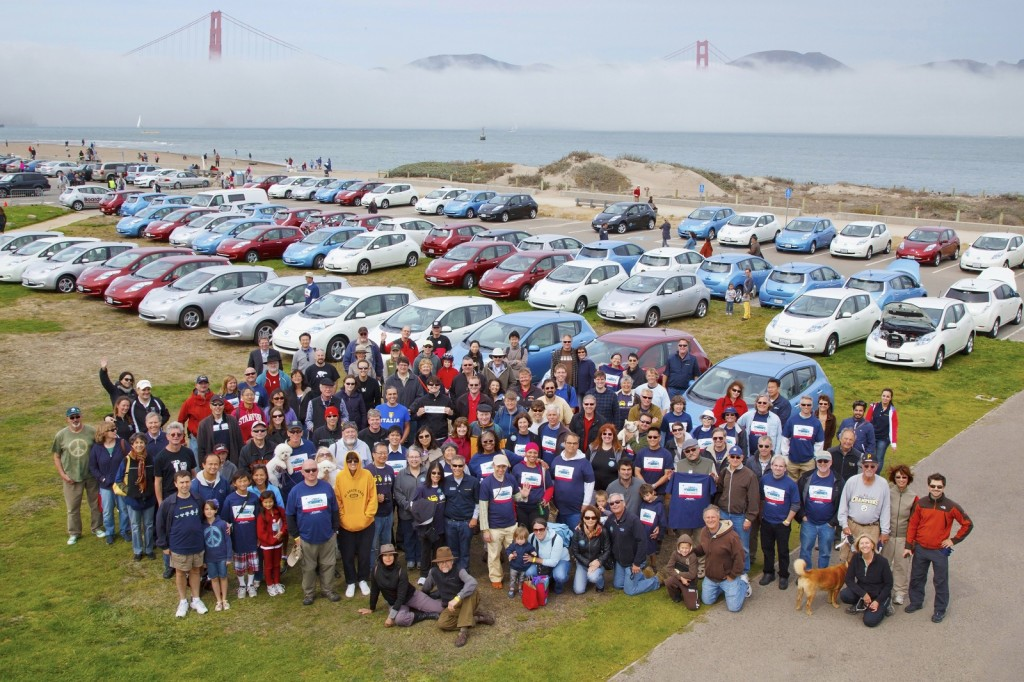 National Plug-In Day 2012: San Francisco, with 60 Nissan Leafs in front of the Golden Gate Bridge