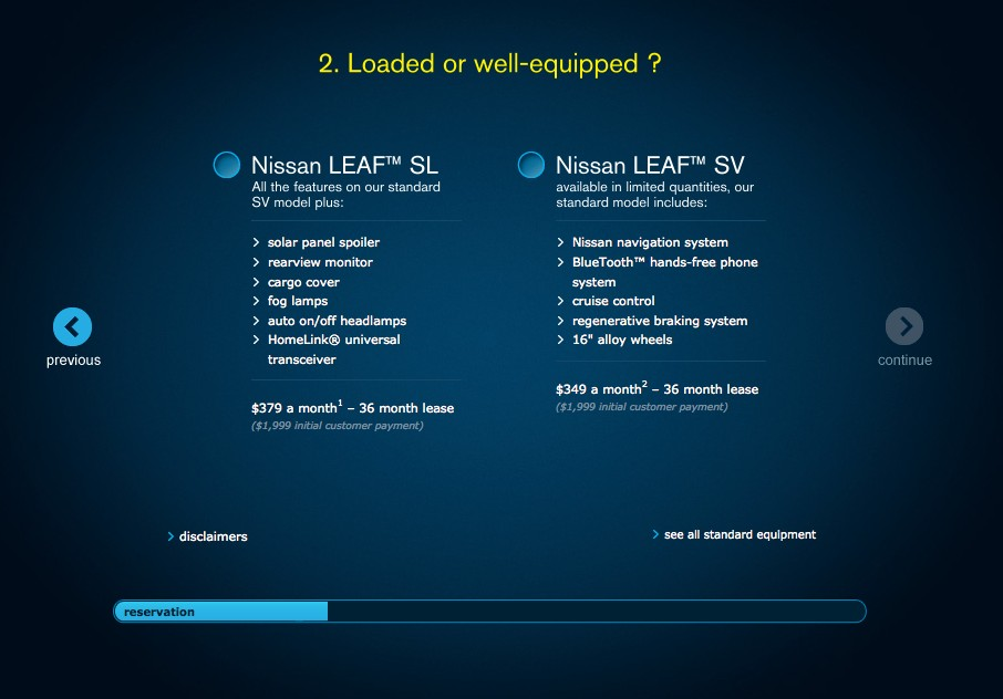 2011 Nissan Leaf ordering process