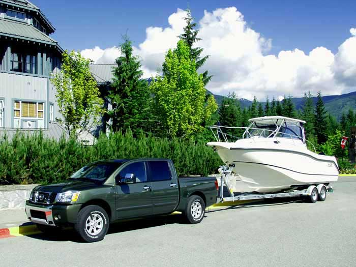 Nissan Crew Cab towing boat